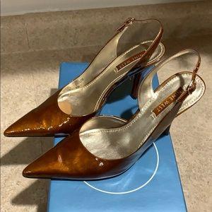 Nine West patient brown amber slingback heels